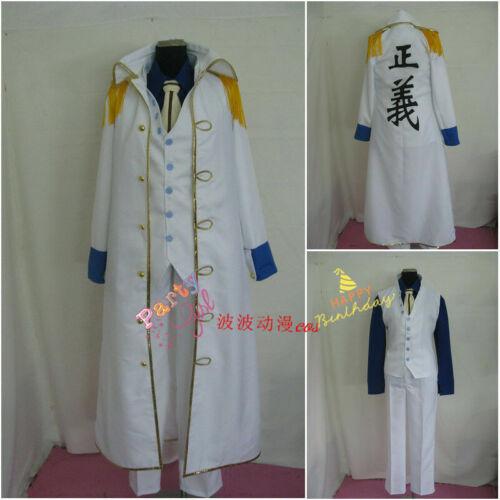 One Piece Marines Admiral Kuzan Admiral Aokiji Uniform Set Cosplay Costume