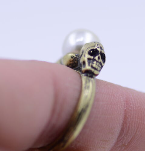 vintage style twin bronze skull and a pearl ring biker punk goth gear