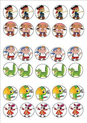 JAKE AND THE  NEVERLAND PIRATE EDIBLE RICE PAPER PARTY CUPCAKE TOPPER X 30