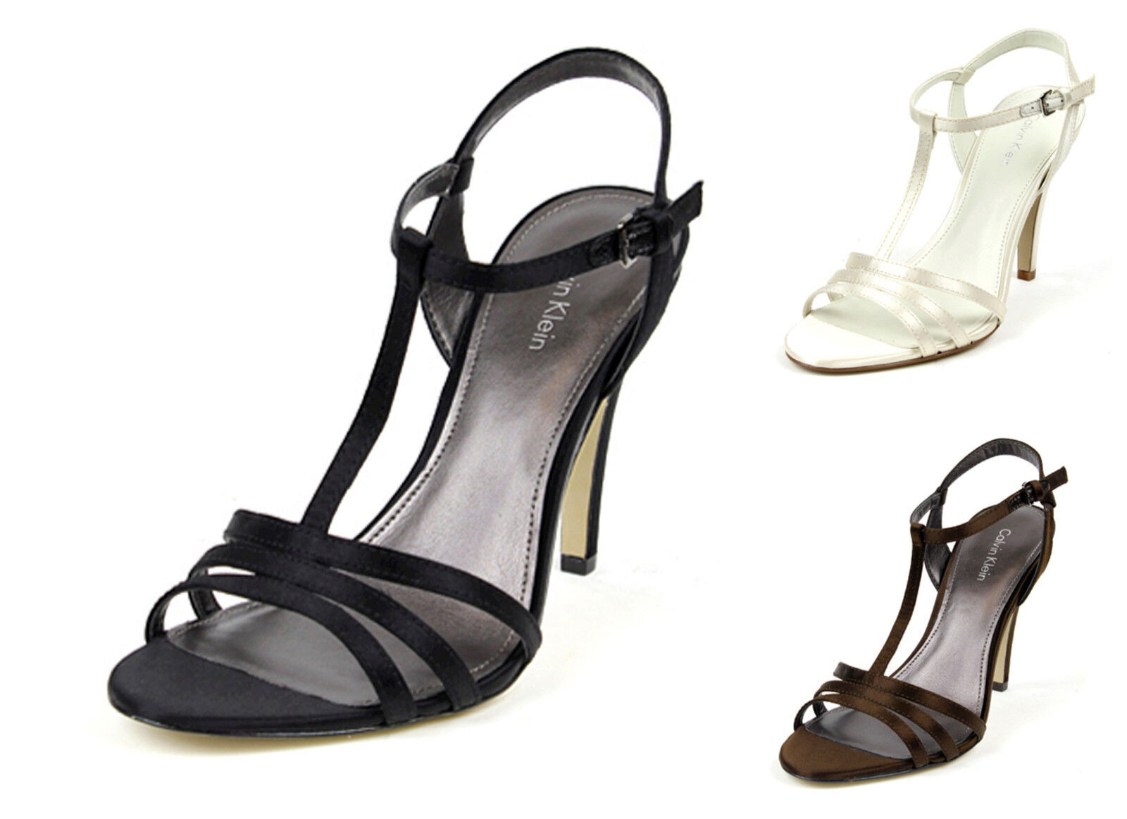 Calvin Klein Rudie Black Ivory Chocolate Brown T Strap Sandal heels Wedding NEW