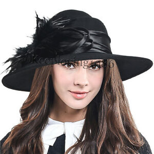 Lady Wool Wide Brim Dress Hat Plume Felt Church Hat Wedding Party Hat