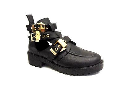 Nuevo Para Mujer Damas Tacón Bajo bloque Cleated Cortar correas con hebilla Zapatos Talla 4