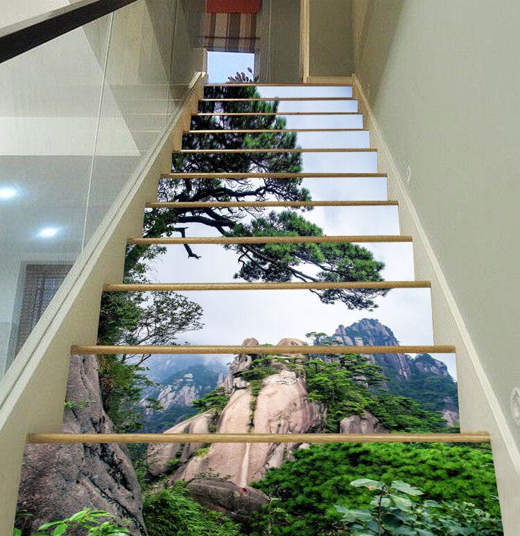 3D Cliffs pine tree Stair Risers Decoration Photo Mural Vinyl Decal Wallpaper US