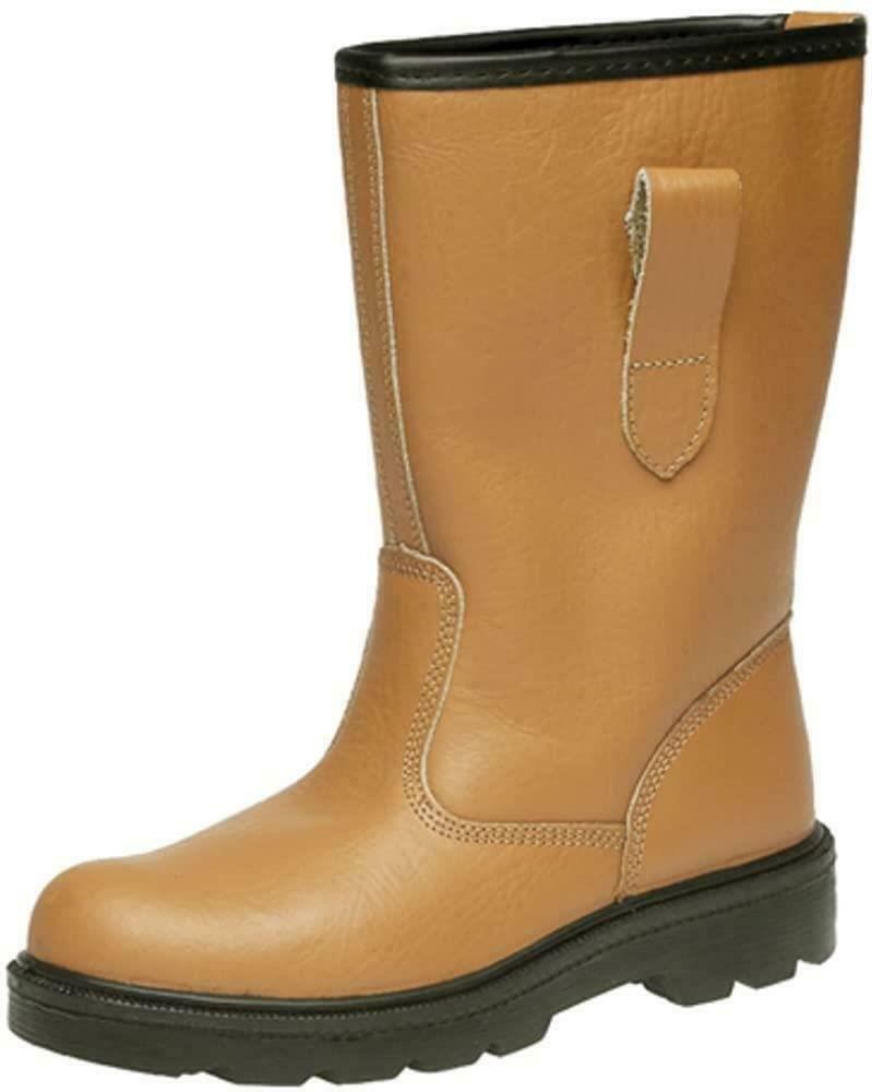 Grafters Mens Safety Steel Toe Cap Fur Lined Work Rigger Boot Tan