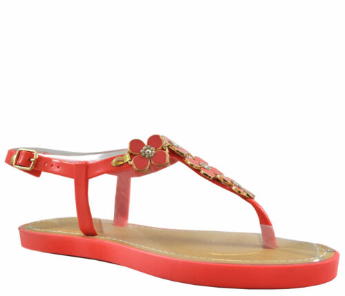 Ladies Womens Flat Jelly Open Toe Post Jellies Ankle Strap Shiny Sandals Size