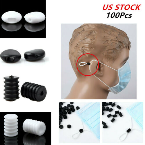 100Pcs Ear Bands Lock Ends Elastic Extension Cord Rope Sliding Stopper Buckle US