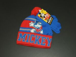 Mickey Mouse Disney Boys Youth One Size Red / Blue Winter Beanie Hat Gloves NEW
