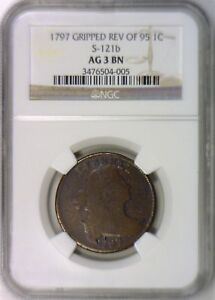 1797 Gripped Edge,  Rev of 95 Large Cent NGC AG-3; Good Obverse