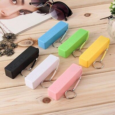 Mobile Power Case Box USB 18650 Battery Cover KeyChain for iPhone Samsung MP3 GU