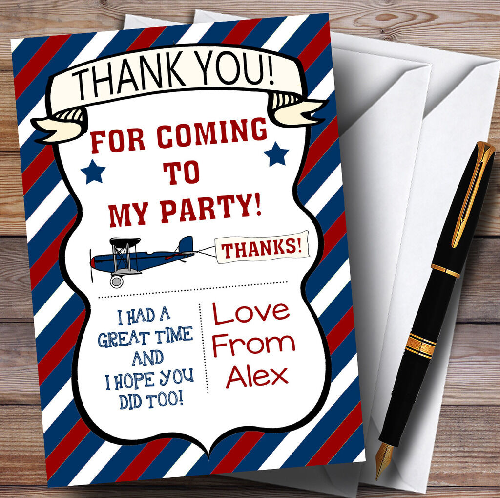Blau & rot Vintage Plane Party Thank You Cards