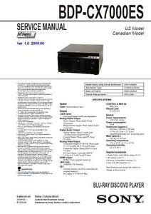 Sony-BDP-CX7000ES-Multi-Disc-Blu-Ray-Player-Service-Manual-und-Reparatur-Anleitung