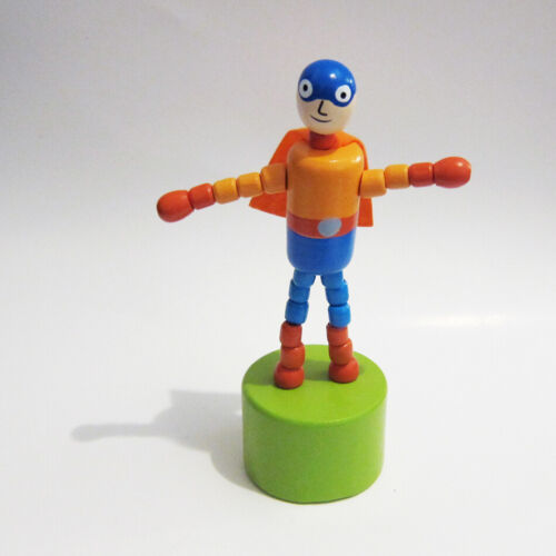 Classic Wood Super Hero Push Puppet Blue Helmet//Pants Orange Felt Cape Grn Base