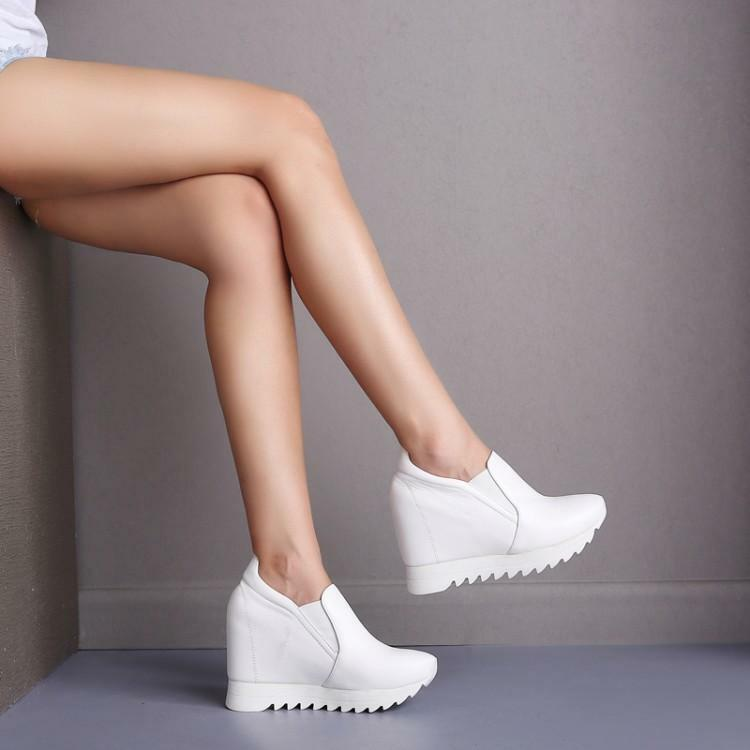 Womens shoes Fashion Leather Sneakers Platform Wedges Ankle Boots High Heels