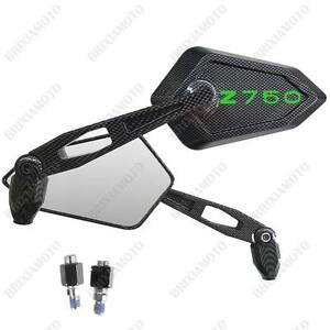 Pair-of-Mirrors-Street-Carbon-Look-Logo-Green-Kawasaki-Z750-Z-750-R
