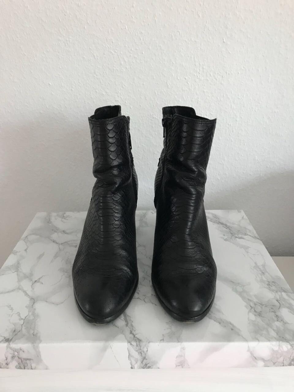 TEXTO Echtleder Leder schwarz Lederschuh Stiefelette schwarz Leder Größe 41 a491b3