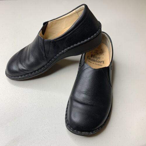 Finn Comfort Newport Black Leather Slip On Loafer