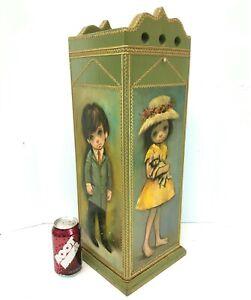 Vintage Mid-Century UMBRELLA STAND w/Ozz Franca Big/Sad Eye Boy/Girl Litho Print