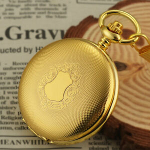 Luxury-Gold-Shield-Vintage-Mens-Mechanical-Pocket-Watch-Wind-up-Retro-Fob-Chain