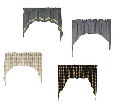 Belle Haven Black Plaid 72 x 14 Cotton Fabric Window Treatment Valance