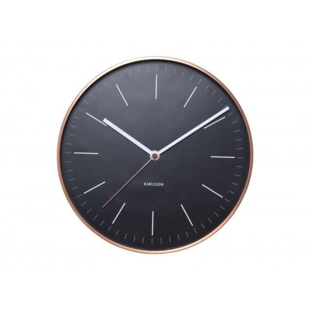 Karlsson Minimal Wall Clock Black Copper Case Designer Unique Modern Stylish
