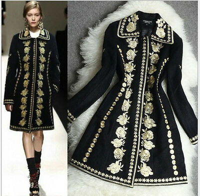 women cashmere wool top quality Gold Line embroidered jacket coat trench parka