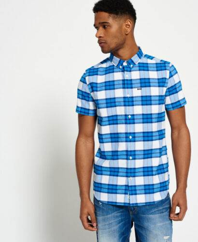 NUOVA linea uomo Superdry camicia Oxford Ultimate University Campus Blu a Quadri