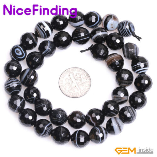 """Natural Faceted Round Banded Black Agate Onyx Spacer Beads Jewelry Making 15/"""" CA"""