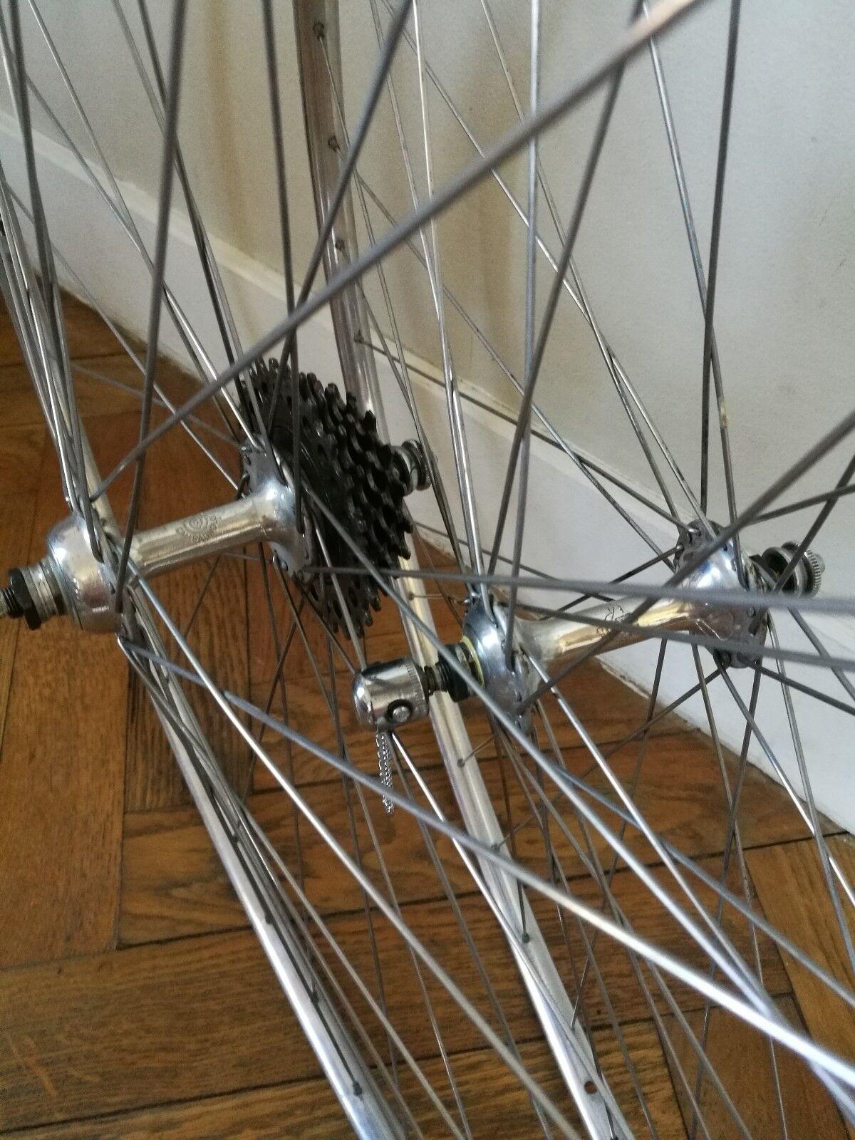 Vintage  Campagnolo wheelset Nuovo Tipo hubs Nisi Rims Regina freewheel corsa  save 60% discount