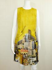 Versace-Amarillo Seda Estampado Vestido Talla 38 Reino Unido 6