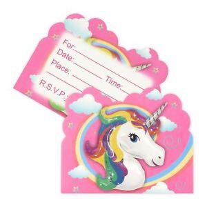 Image Is Loading Colourful Rainbow Unicorn Card Invitations Girls Childrens Birthday