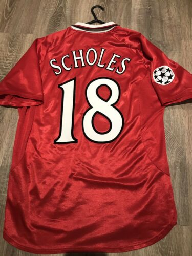 MANCHESTER UNITED 1999/00 CHAMPION LEAGUE HOME SHIRT L 2 STARS 18 SCHOLES