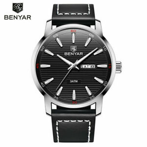 Luxury-BENYAR-BY-5145-Waterproof-Military-Watch-Men-Quartz-Watches-Leather-Strap