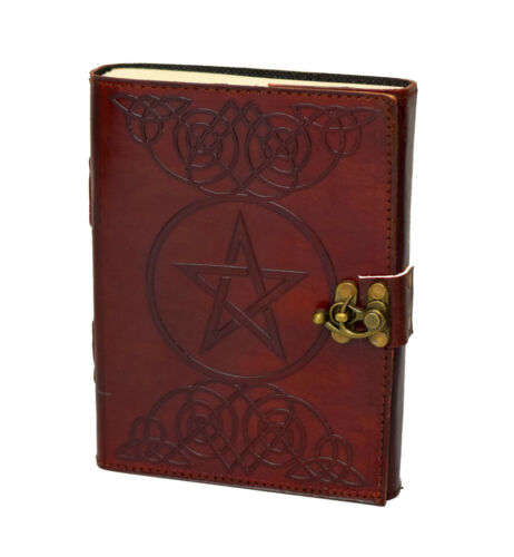 Pentagramm Gothik Indien Lederbuch Tagebuch Notizbuch Handmade RPG Fantasy Stern