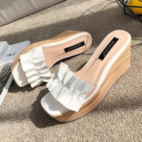 Blanc Sabot Simili Couleur 9830 9 Slippers Confortable Sandales Wedge Élégantes Cuir 684qS5z