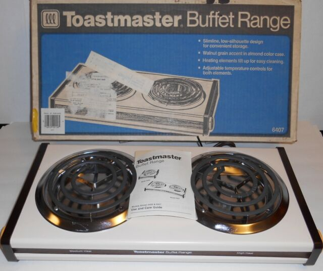 Toastmaster Buffet Double Burners Almond Range New Old Stock In Box 6407