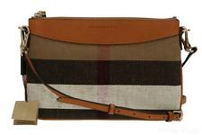 NEW BURBERRY PEYTON CANVAS CHECK LEATHER CROSS BODY CLUTCH BAG PURSE WRISTLET