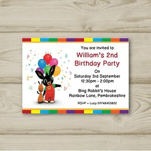 Image Is Loading Bing Rabbit Balloons Birthday Party Invitations Personalised