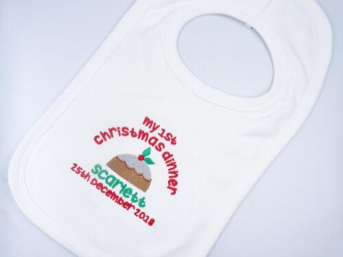 Personnalisé Brodé Mon Premier 1ST Dîner de Noël Pudding bavoir bébé gilet