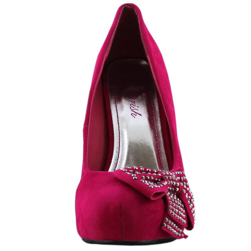 New women/'s shoes fashion stilettos pumps platform suede like bow party fuchsia