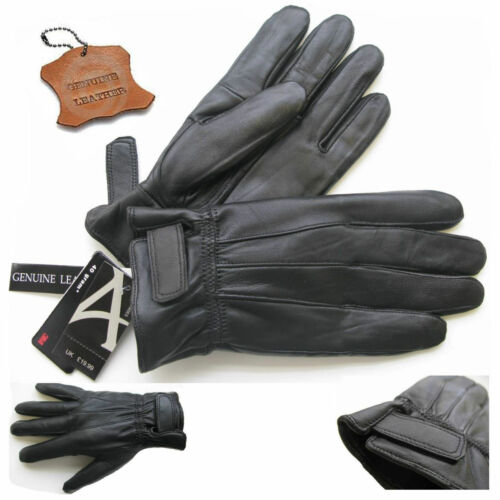 Mens Leather Touch Screen Gloves Thinsulate Lined Soft Warm Driving Real Leather