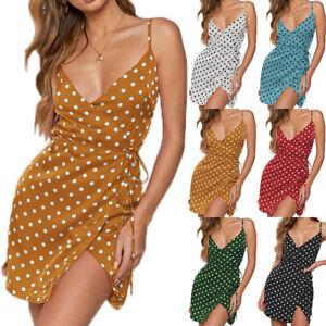 Womens-Summer-Polka-Dot-Mini-Slip-Dress-V-Neck-Holiday-Short-Wrap-Tea-Sundress