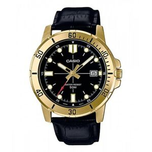 Casio-MTP-VD01GL-1EV-Men-039-s-Enticer-Gold-Tone-Leather-Band-Black-Dial-Watch