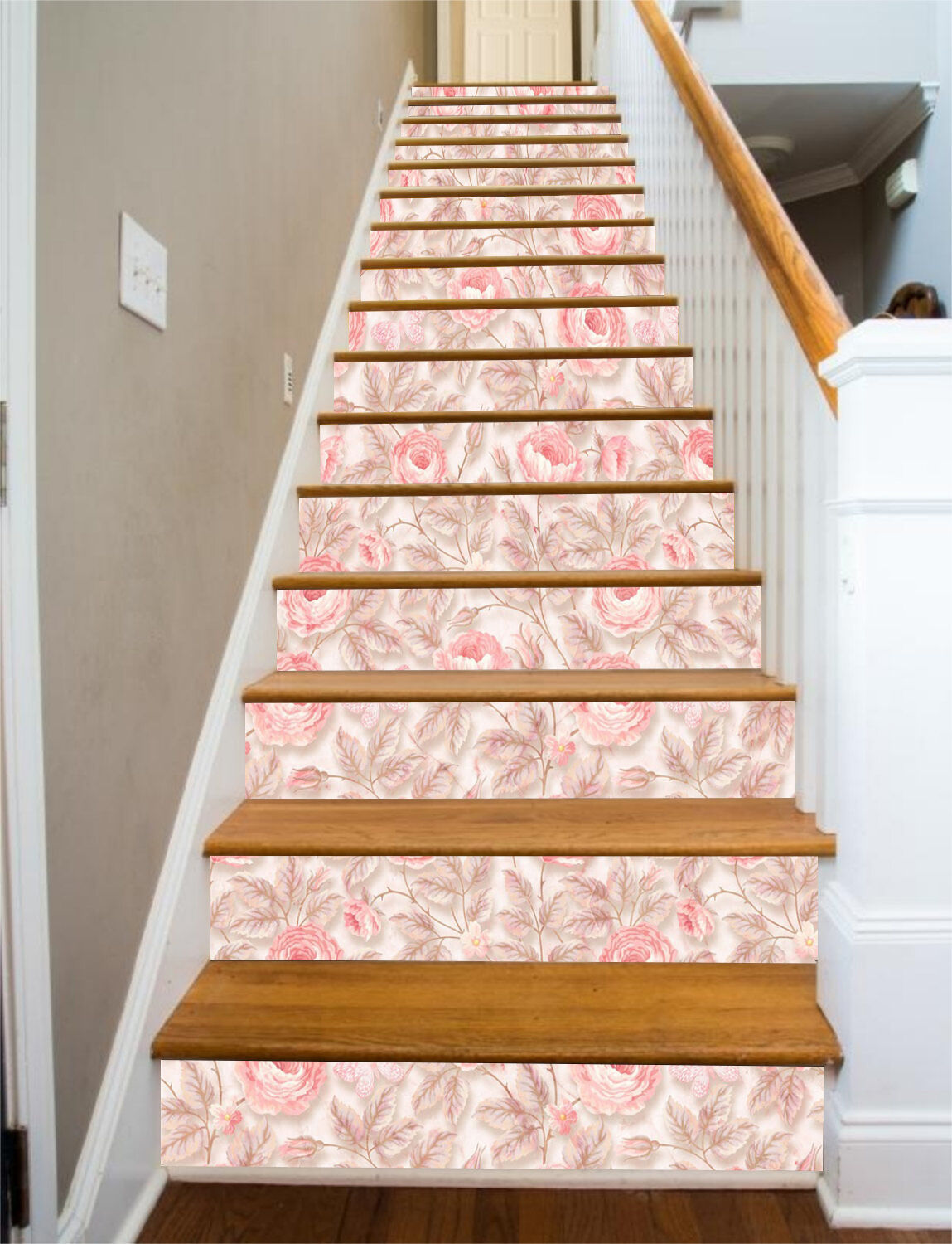3D rose Pattern Stair Risers Decoration Photo Mural Vinyl Decal Wallpaper CA