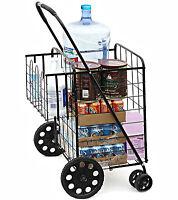 Folding Shopping Utility Cart Jumbo Size Grocery Double Basket Laundry Travel