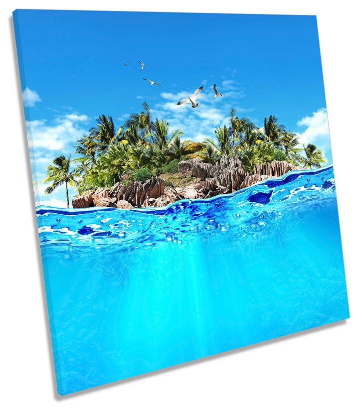 Paradise Desert Island Seascape SQUARE BOX FRAMED CANVAS ART Print