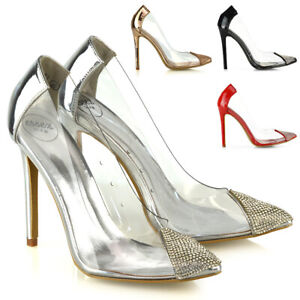 Details zu New Womens High Heel Shoes Ladies Perspex Diamante Point Toe Slip On Pumps Size