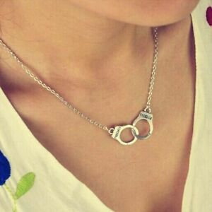 New-Women-Gift-Alloy-Silver-Pendant-Necklace-Freedom-Lover-Handcuff