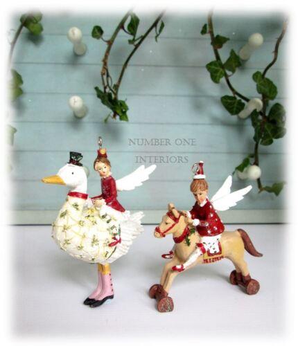 Gisela Graham Noël Vintage Fée Ange Enfants Set De 2 Décorations Pour Arbres