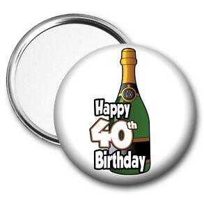 Image Is Loading Champagne Bottle Pocket Mirror 40th Birthday Gift Ladies
