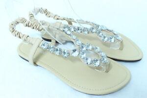 Women-039-s-BEIGE-Shiny-Rhinestone-Flat-Sandals-Evening-Wedding-Party-Dress-Shoes